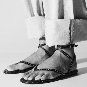 Zara black leather studded flat ankle wrap sandals